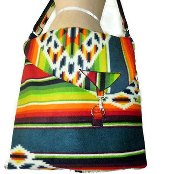 Native American Style Weekender Bag Aztec Fleece Southwest Style