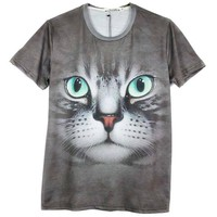Grey Tabby Kitty Cat Face Print Graphic Tee T-Shirt for Women