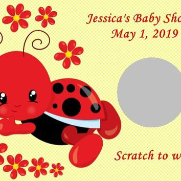 10 Ladybug Baby Shower Scratch Off Game Cards