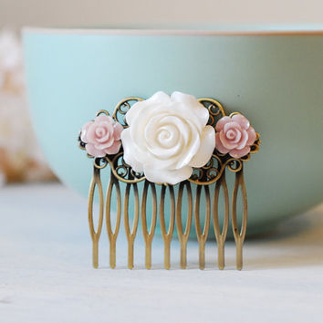 White Ivory and Pink Rose Flower Hair Comb, Vintage Inspired Wedding Hair Accessory, Bridal Hair comb, Pink and Ivory Wedding Accessory