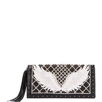 Balmain Wing-Embroidered Leather Clutch Bag