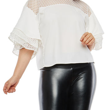 Plus Size Tiered Sleeve Mesh Yoke Top