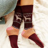 Reindeer Intarsia Boot Sock - Urban Outfitters