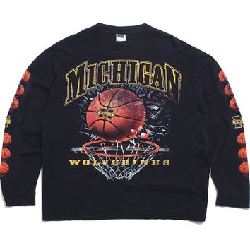 University Of Michigan Basketball Shattered Backboard NCC Longsleeve T-Shirt Navy (XL)