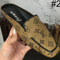 LV Louis Vuitton 2018 new wild casual flat fashion half toe shoes F-M-ASML #2