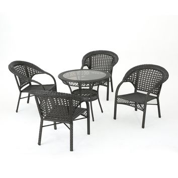 Tahiti Outdoor 5 Piece Gray Wicker Dining Set with Tempered Glass Table Top