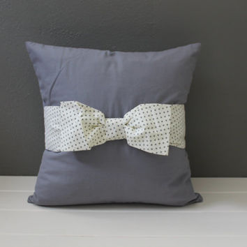 Gray Bow Pillow: Modern Gunmetal Gray Pillow with Grey and Cream Polka Dot Bow, Feminine Toss Pillow, Modern Girls Nursery, Polka Dot Pillow