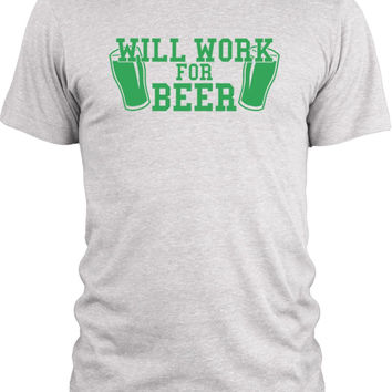 Big Texas Will Work For Beer (Green) Vintage Tri-Blend T-Shirt