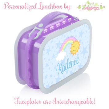 Rainbow Lunchbox - Personalized Lunchbox with Interchangeable Faceplates - Double-Sided Pastel Kawaii Rainbow Sun Lunchbox
