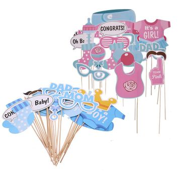 Baby Shower Photo Booth Props Its a Boy Girl Fun 1st Birthday Party Decoration PhtotoBooth Mustache Centerpieces