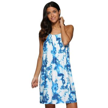 Chic Spaghetti Strap Ombre Printed Mini Dress for Women
