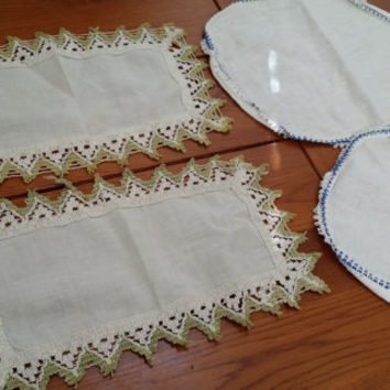 Set of 4 Small Vintage Linen Doilies With Crocheted Edge Round and Rectangle Blue and Green Perfect for Your Cottage Chic Decor