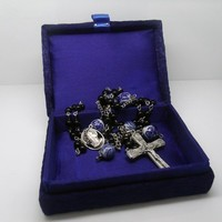 Catholic Rosary Black Onyx Chinese Porcelain with Silver Prayer Beads