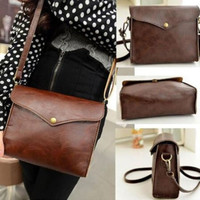 New Womens Leather Shoulder Bag Satchel Clutch Handbag Tote Purse Hobo Messenger (Color: Brown)