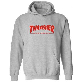 Thrasher series of hooded cashmere sweater and a variety of sports Red letters