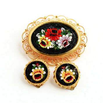 Vintage Micro Mosaic Brooch and Clip On Earring Set - Italian Mid Century Gold Tone Costume Jewelry / Floral Glass