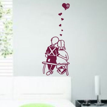 Couple in Love Decal Sticker Wall Art Bench Park Married Graphic