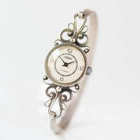 Floral filigree wristwatch for women. Cocktail watch with bracelet Glory. Cupronickel jewelry watch vintage. Very rare lady watch filigree