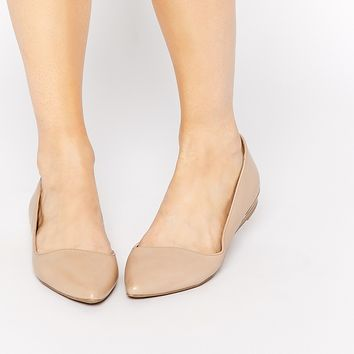 ALDO Dealia Nude Pointed Flat Shoes at asos.com