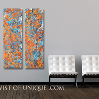 Industrial abstract Painting,  2 panel ORIGINAL Painting (48 Inches x 15 Inches), Melted Wall Art,  - Orange, Blue, Silver, poppy red
