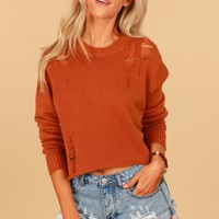 Highly Distressed Knit Sweater Bronze