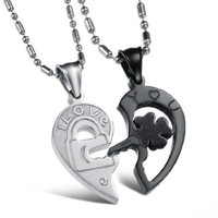 SunnyHouse Titanium Open Your Heart I Love You Key and Lock His & Hers Couple Pendant Necklace