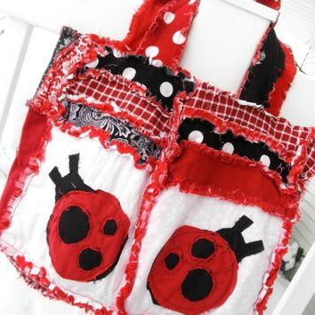 RAG PURSE, Diaper Bag, Quilted Tote, ladybug, red, black, Made to Order