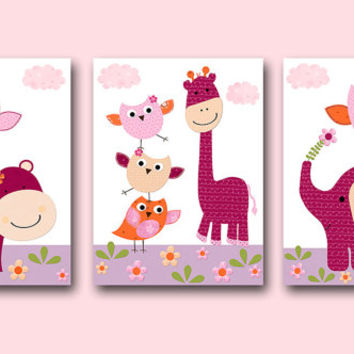 Bady Gift Girl Elephant Nursery Wall Decor Baby Girl Nursery Decor Children Art Print Baby Nursery Print set of 3 8x10 Orange Purple Pink