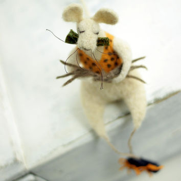 Dreamy Felt Mouse With A Green Tie -Needle Felt Art Doll