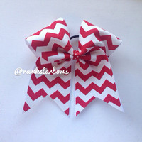 Red/White Chevron Cheer Bow Christmas Holiday