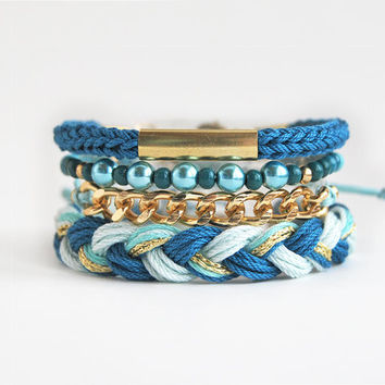 Teal bracelet stack, bohemian set of bracelets, teal arm candy, stacking bracelets, festival jewelry