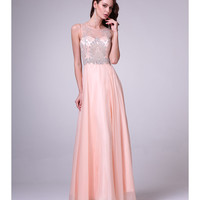 Sweet Peach Chiffon Embellished Bodice Dress 2015 Prom Dresses