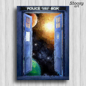 doctor who tardis print space art tardis poster dr who gift