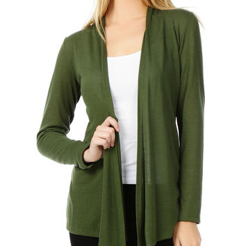 LE3NO Womens Long sleeve Open Knit Cardigan with Stretch