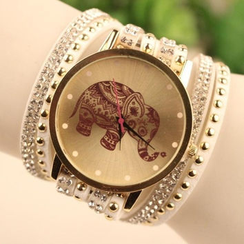 New 2015 Fashion Women Elephant Dial Rhinestone Korean Velvet PU leather Bracelet Quartz Wrist Watch Relogio Feminino Montres Femmes = 1956980356