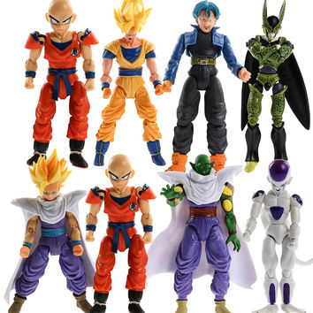 Lot 8pcs dragon ball z action figures Dragonball Z Goku DBZ Anime Vegeta Kid Toy