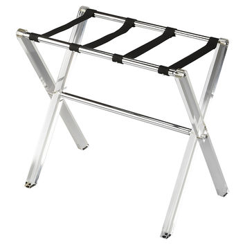 Nell Luggage Rack, Black/Clear, Acrylic / Lucite, Luggage Racks
