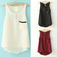 2015 Womens Summer Casual Chiffon Sleeveless Vest Tank Pocket Blouse Tops Shirt = 5660766337