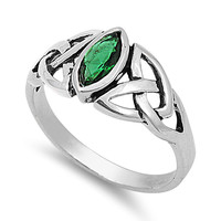 925 Sterling Silver CZ Wicca Triquetra Simulated Emerald Ring 9MM