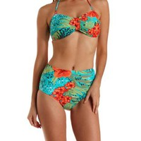 Blue Combo Tropical Print Bandeau Bikini Top by Charlotte Russe