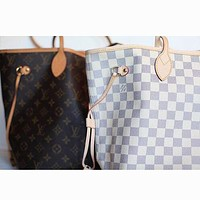 LV Louis Vuitton Stylish Classic Women Shopping Bag Leather Tote Handbag Shoulder Bag Two Piece I