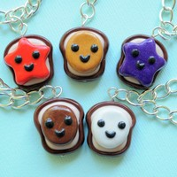 Handmade Peanut Butter & Jelly 5-Way Best Friend Necklaces or Bracelets