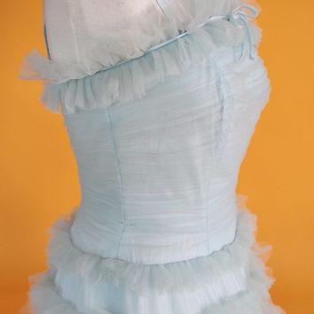 Vintage 1950's Aqua Tulle Prom Dress/Party Dress/Cupcake Dress UK 10 US 6