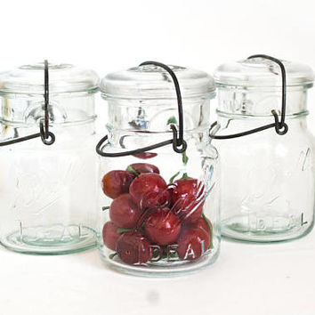 Antique Ball Ideal Mason Jars, 1910s Short Wire Side Dry Goods Containers, Clear Green Tint Glass, Rustic Cottage Kitchen