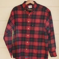 Vintage Plaid Flannel Shirt by GH Bass Mens Flannel Shirt