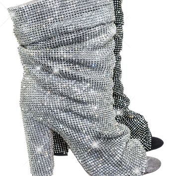 Queen Women's Rhinestone Crystal Peep Toe Block Heel High Ankle Slouch Bootie