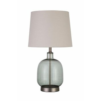 Adorning Table Lamp With Glass Base, White And Green-Coaster