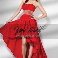 A-Line Strapless Asymmetrical Length Satin Beading Prom Dress SAL0328
