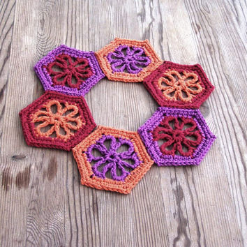 Dahlia coasters, Floral coasters, Crochet coaster set, Colorful coasters, Kitchen decor, Drinkware,