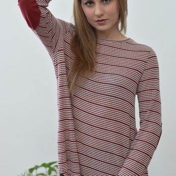 Skinny Red and White Stripe Top with Elbow Patches